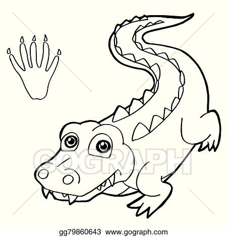 EPS Vector - Paw print with crocodile coloring p. Stock ...