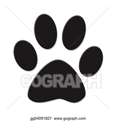 Drawing Paw Print Clipart Drawing Gg54091827 Gograph