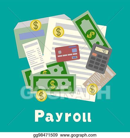vector clipart payroll invoice sheet flat illustration payroll