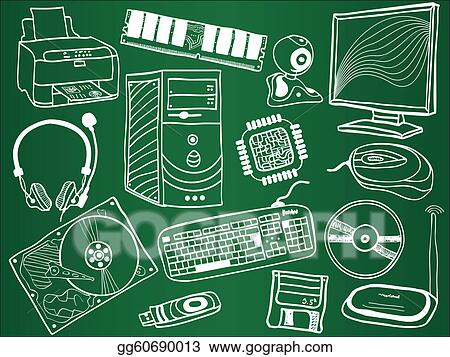 Vector Art Pc Components And Peripheral Devices Sketches On School Board Eps Clipart Gg60690013 Gograph
