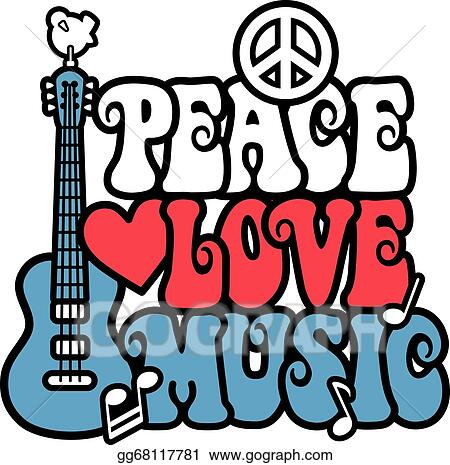 Vector Stock Peace Love And Music Clipart Illustration Gg68117781