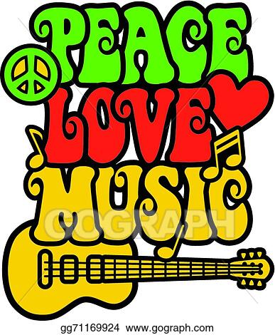 Eps Illustration Peace Love Music In Rasta Colors Vector Clipart