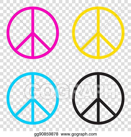 df3b3bf0723f Vector Illustration - Peace sign illustration. cmyk icons on ...