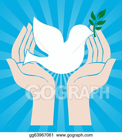 Drawing Peace Sign Of Hands Holding Dove Clipart Drawing
