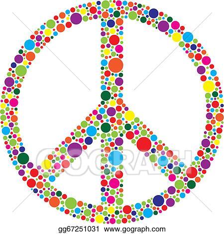9c0c8b6b4 Vector Stock - Peace symbol with polka dots illustration. Stock Clip ...