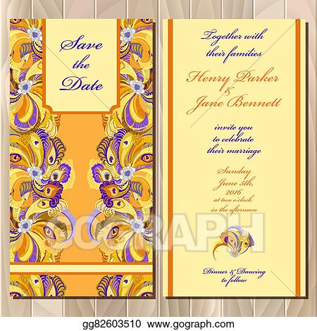 Eps Illustration Peacock Feathers Wedding Invitation Card