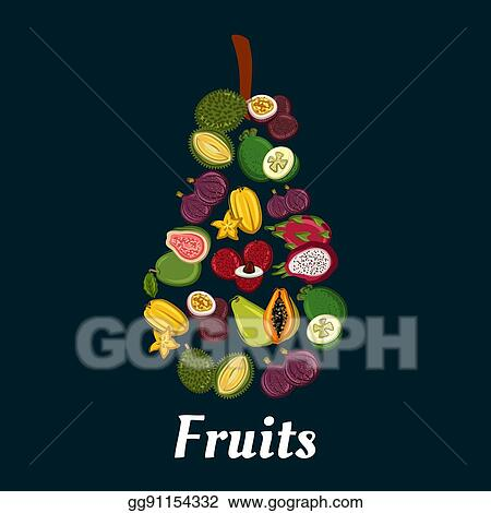 Vector Art Pear Fruit Symbol With Exotic Tropical Fruits Clipart