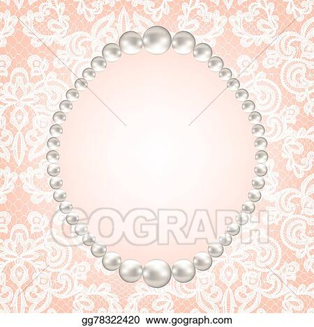 vector illustration pearl frame on lace background stock clip art
