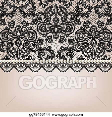 Vector Art Pearl Necklace On Lace Background Clipart