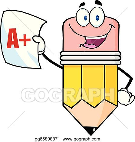 vector stock pencil holding a report card clipart illustration rh gograph com report card clipart black and white report card clip art free