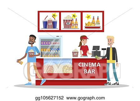 Vector Stock People Buy Pop Corn And Soda In Cinema Bar Clipart Illustration Gg105627152 Gograph