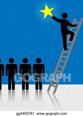 Drawings People Climb Ladder Rising Star Symbol Stock