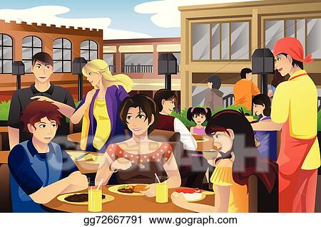 vector art people eating in an outdoor restaurant clipart drawing rh gograph com restaurant clipart logo restaurant clipart pictures