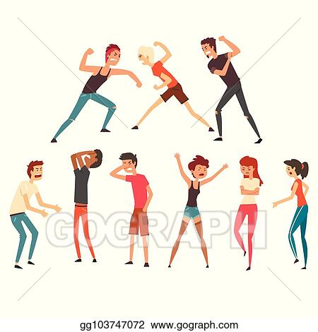 Clip Art Vector People Fighting And Quarreling Aggressive And Violent Behavior Negative Emotions Young Guys And Girls Flat Vector Design Stock Eps Gg103747072 Gograph