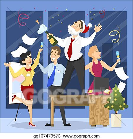 clip art vector people have fun on the office christmas party set party in happy company of colleagues new year celebration on the work vector