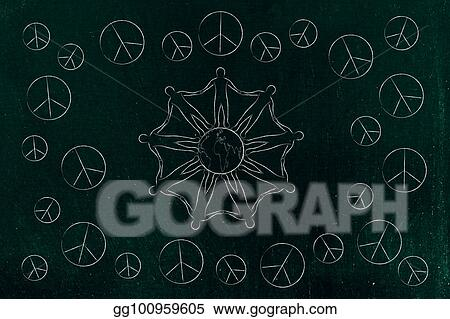 Stock Illustration People Holding Hands Around The World And Peace