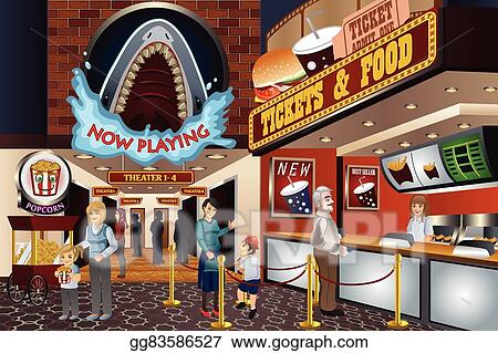 clip art vector people in a movie theater stock eps gg83586527