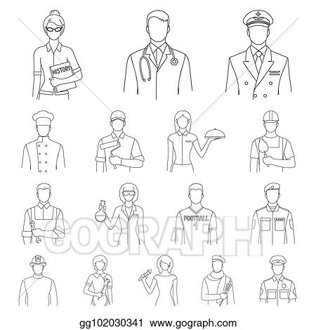 Stock Illustration People Of Different Professions Outline Icons