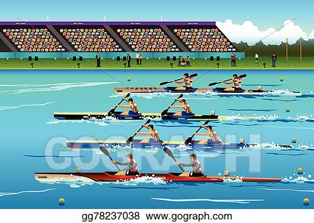 People Riding Canoe In River During Competition
