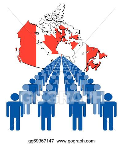 Canada Map Flag.Vector Art People With Canada Map Flag Clipart Drawing Gg69367147