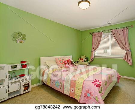 Stock Photo - Perfect girls bedroom with green walls. Stock ...