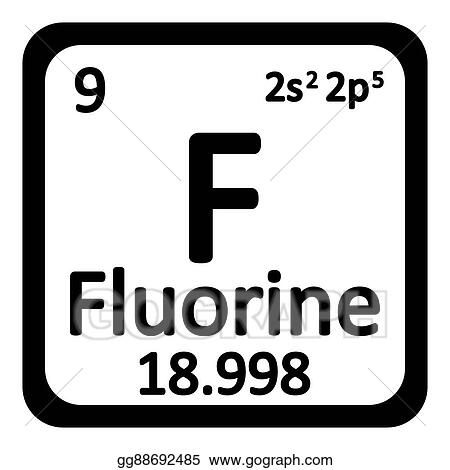 Periodic Table Element Fluorine Icon.