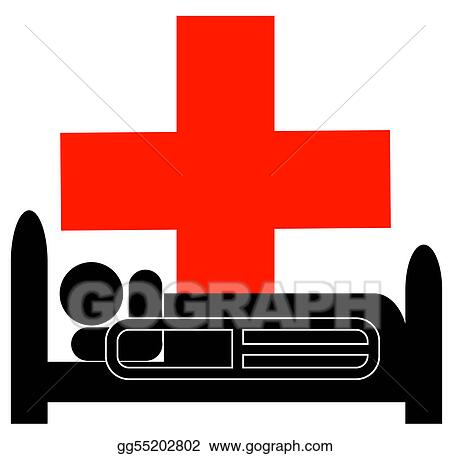 Clipart Person Lying In Hospital Bed With First Aid Symbol Stock