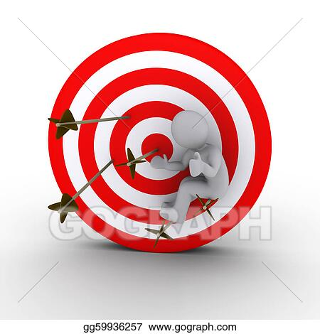 Drawings - Person sitting on arrows shot at a target  Stock