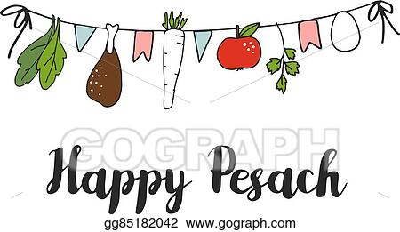 Vector art pesach passover greeting card banner with hand drawn pesach passover greeting card banner with hand drawn seder string vector m4hsunfo