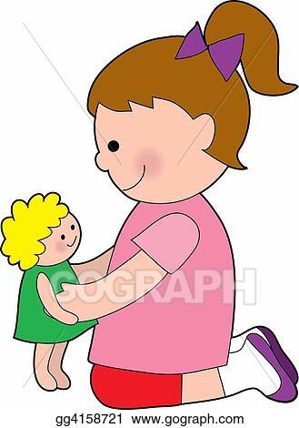 Illustration Commerciale Petite Fille à A Poupée Bébé