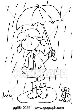 Illustration Commerciale Petite Fille à Parapluie