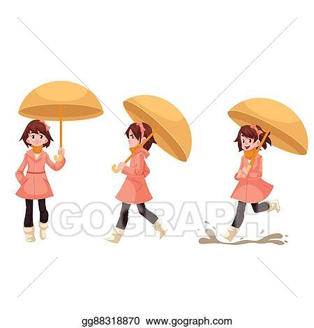 Clip Art Petite Fille Dans A Imperméable à Parapluie