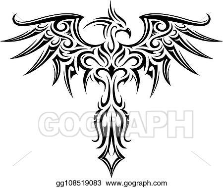 Clip Art Vectoriel Phénix Tatouage Forme Dessin Clip