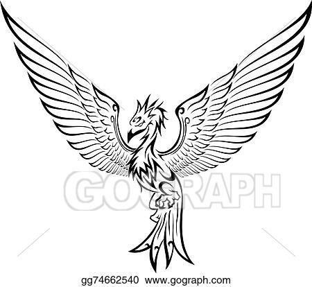 Clip Art Vectoriel Phénix Tatouage Dessin Clip Art