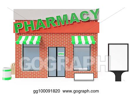 Drawings - Pharmacy store with copy space board isolated on ...