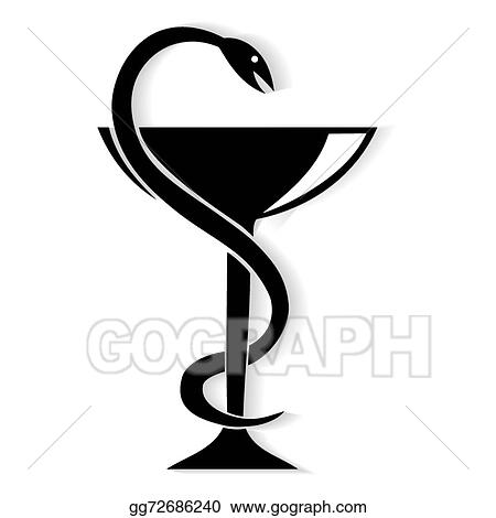vector art pharmacy symbol medical snake and cup clipart drawing