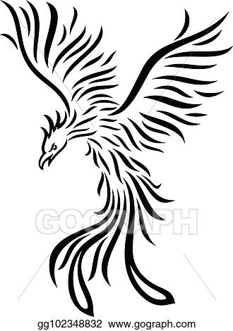 Vector Clipart Phoenix Tattoo Isolated On White Background Vector