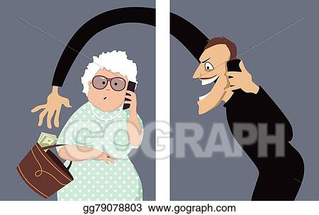 vector clipart phone scam targets seniors vector illustration rh gograph com Scam Alert Latest Telephone Scams