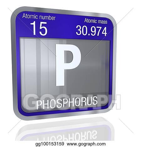 Drawings Phosphorus Symbol In Square Shape With Metallic Border