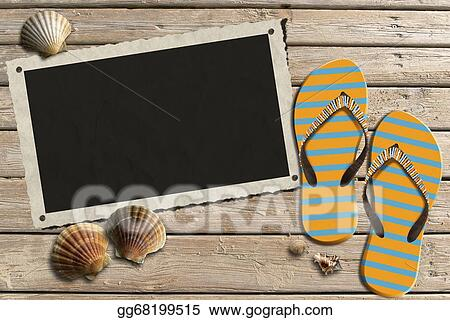 Stock Illustration - Photo frame on wooden boardwalk with sand. Clip ...