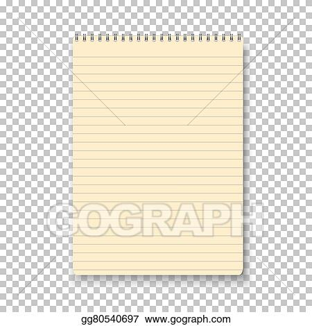 Vector Clipart Photorealistic vector yellow notepad isolated on – Yellow Notebook Paper Background