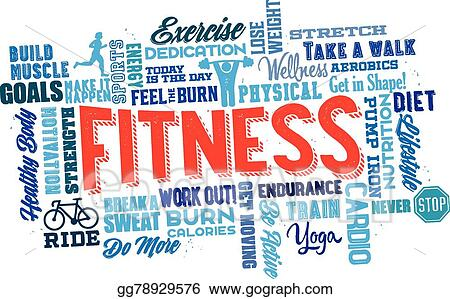 vector illustration physical fitness word cloud eps clipart rh gograph com physical fitness exercises clipart physical fitness clip art free