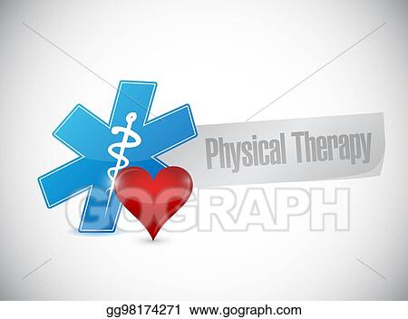 Drawing Physical Therapy Medical Symbol And Heart Isolated