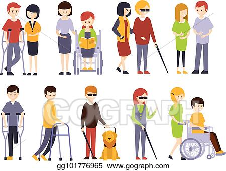 Vector Art Physically Handicapped People Receiving Help