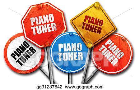 Stock Illustration - Piano tuner, 3d rendering, rough street