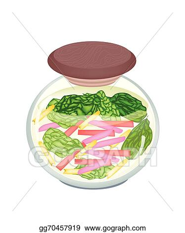 Vector Clipart Pickled Ruby Red Chard In A Jar Vector Illustration Gg70457919 Gograph