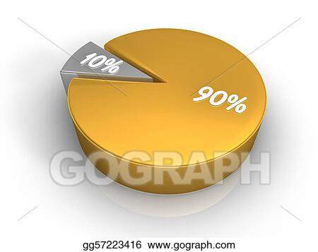 Drawing Pie Chart 90 10 Percent Clipart Drawing Gg57223416 Gograph