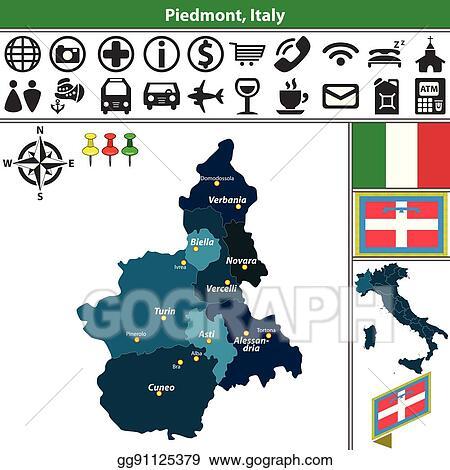 Novara Italy Map.Clip Art Vector Piedmont With Regions Italy Stock Eps Gg91125379