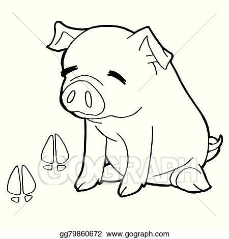 Pig With Paw Print Coloring Pages V