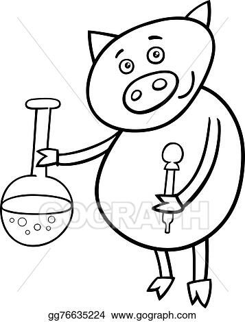 Vector Illustration - Piglet at chemistry coloring page. EPS Clipart ...